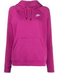Nike Pink Swoosh Logo Cotton Hoodie