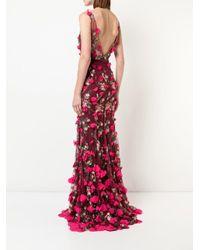 Vestido de fiesta bordado con cuello en V Marchesa notte de color Red