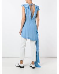 Marni - Blue Asymmetric Draped Top - Lyst