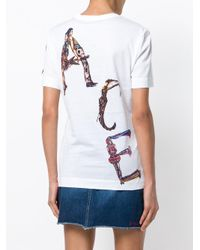 Versace White Painted Figure Logo T-shirt