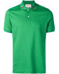 Polo à broderies Gucci pour homme en coloris Green