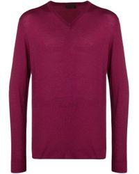 Altea Purple Fine Knit V-neck Sweater for men