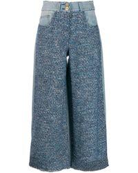 Elisabetta Franchi Blue Tweed-Hose im Cropped-Design