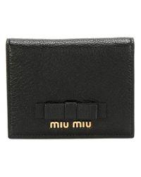 Miu Miu Black Wallet With Bow Detailing