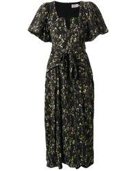 Robe mi-longue à fleurs Preen By Thornton Bregazzi en coloris Black