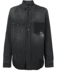 Saint Laurent Printed Denim Shirt in het Black voor heren