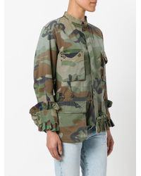 Erika Cavallini Semi Couture Green Frilled Camouflage Jacket