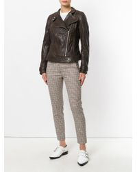 Dondup - Brown Zipped Biker Jacket - Lyst