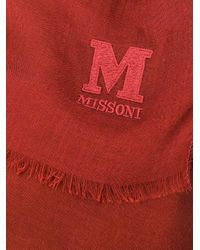 M Missoni ロゴエンブロイダリー スカーフ Red