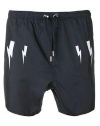 Neil Barrett Blue Lightning Bolt Print Swim Shorts for men
