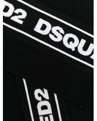 DSquared² Black Logo Embroidered Scarf for men