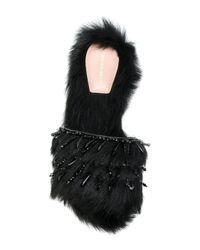 Alberta Ferretti Black Fur Detail Sandals