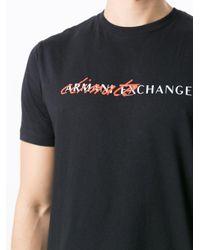 メンズ Armani Exchange ロゴ Tシャツ Black