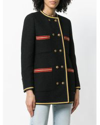 Gucci - Black Double Breasted Collar-less Jacket - Lyst