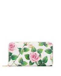 Portefeuille à fleurs Dolce & Gabbana en coloris White