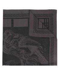 Versace Black Macro Medusa Print Scarf for men