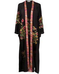 Albornoz con bordado floral Anjuna de color Black