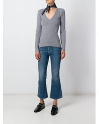 Fashion Clinic Timeless Gray V-neck Knitted Top