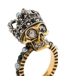 Alexander McQueen クリスタル装飾 スカルリング Metallic