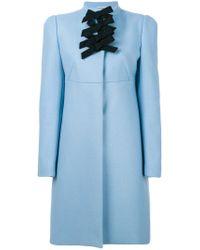 Rochas Blue Bow Detail Coat