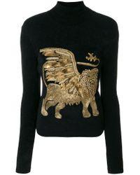Alberta Ferretti Black Embellished Lion Turtleneck Sweater