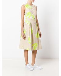 MSGM Yellow Open Back Flared Dress