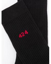メンズ 424 ロゴ靴下 Black