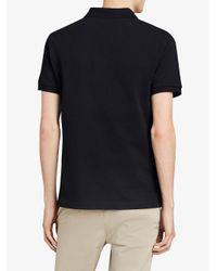 Burberry - Black Tartan Trim Piqué Polo Shirt for Men - Lyst