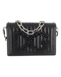 Dolce & Gabbana - Black Quilted Logo Shoulder Bag - Lyst
