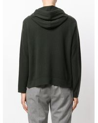 Allude Green Zipped Knit Hoodie