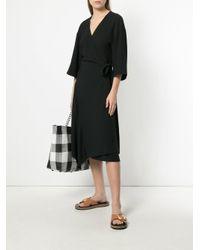 Theory - Black Wrap-around Midi Dress - Lyst