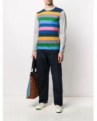 メンズ Comme des Garçons ストライプ ロングtシャツ Gray