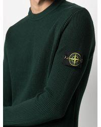 Maglione con applicazione di Stone Island in Green da Uomo