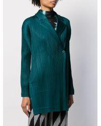 Pleats Please Issey Miyake Green Plissierte Jacke mit schmalem Schnitt