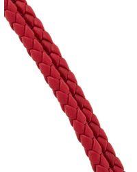 Bottega Veneta Red Woven Logo Bracelet