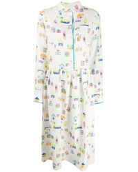MIRA MIKATI Multicolor Hemdkleid mit Häuser-Print