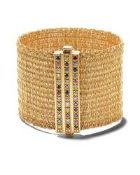 Плетеный Браслет Из Желтого Золота С Бриллиантами И Сапфирами Carolina Bucci, цвет: Metallic