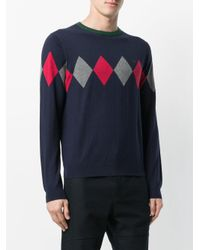 Sun 68 - Blue Argyle Knitted Sweater for Men - Lyst