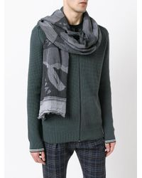 KENZO Black Printed Scarf for men