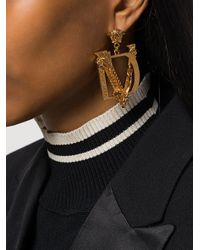 Versace Metallic Dv Barocco Earrings