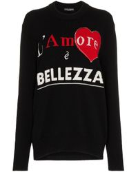 Dolce & Gabbana スローガン カシミア セーター Black