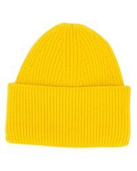 Gorro de punto de canalé Laneus de hombre de color Yellow