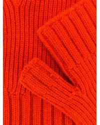 メンズ AMI フィッシャーマンリブ フィンガーレス グローブ Red