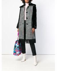 Emilio Pucci - Black Fur Trimmed Button Front Coat - Lyst