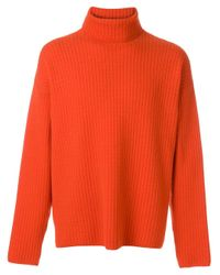 AMI Red Turtleneck Oversize Fit Double Face Rib Sweater for men