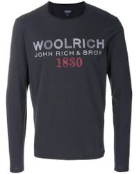 Woolrich Gray Long Sleeve Shirt With Printed Logo for men