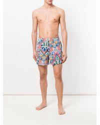 Etro - Blue Paisley Print Swim Shorts for Men - Lyst