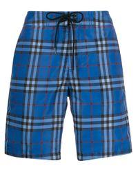 メンズ Burberry チェック ショートパンツ Blue