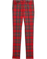 メンズ Burberry チェック テーラードパンツ Red