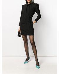 Saint Laurent Black Kleid mit betonten Schultern